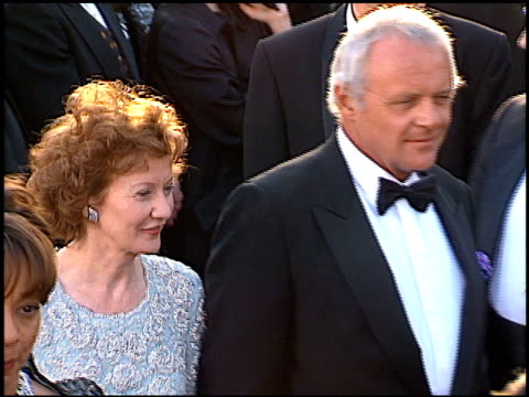 vídeos de stock, filmes e b-roll de anthony hopkins at the 1996 academy awards arrivals at the shrine auditorium in los angeles california on march 25 1996 - 1996