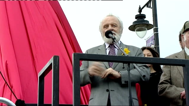 anthony hopkins unveils tommy cooper statue in caerphilly sir anthony hopkins doing tommy cooper impression sot - anthony hopkins stock videos & royalty-free footage