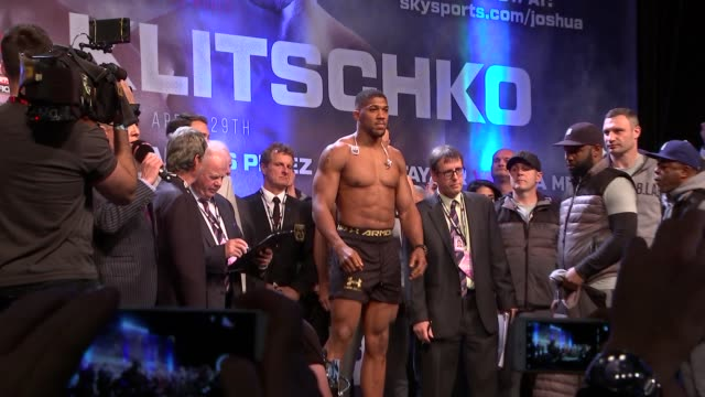 Anthony Joshua and Wladimir Klitschko weighin prior to their fight Wladimir Klitschko onto stage and stripping off / Klitschko weighIn / Anthony...