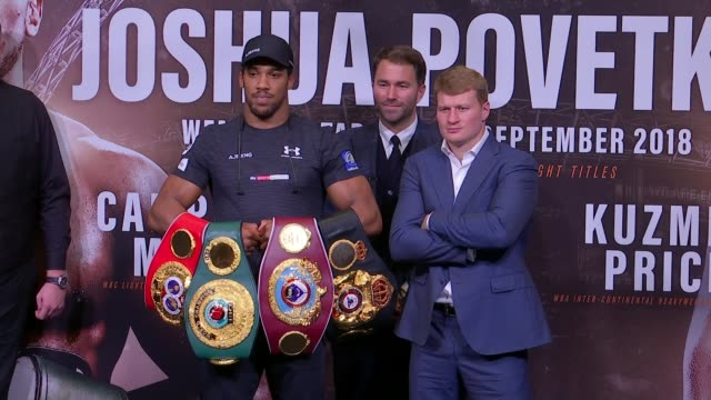 anthony joshua prepares for fight with alexander povetkin uk london wembley anthony joshua and alexander povetkin press conference / anthony joshua... - anthony joshua boxer stock videos & royalty-free footage