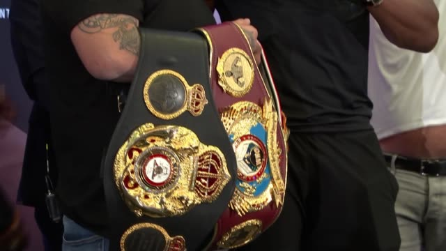 anthony joshua preparing for andy ruiz rematch england london int large banner 'clash of the dunes ruiz joshua 2' photography *** andy ruiz jr... - belt stock videos & royalty-free footage