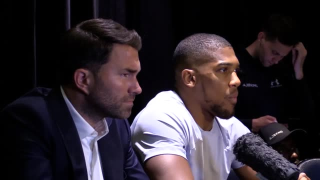 anthony joshua reacts after andy ruiz jr causes one of the biggest shocks in the history of heavyweight boxing by stopping anthony joshua in seven... - anthony joshua boxer stock videos & royalty-free footage
