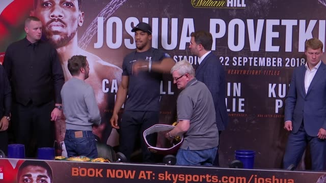 prematch press conference / anthony joshua interview england london brent wembley wembley stadium int anthony joshua and alexander povetkin photocall... - anthony joshua boxer stock videos & royalty-free footage