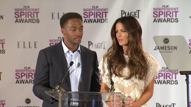 anthony mackie and kate beckinsale announce the nominees for the 2012 independent spirit awards - independent feature project stock videos & royalty-free footage