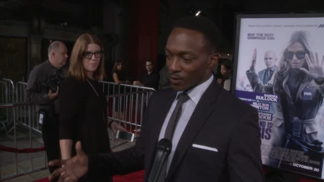 """anthony mackie at the """"our brand is crisis"""" los angeles premiere on what it means to have the film premiering at the tcl chinese theatre at tcl... - tcl chinese theatre stock videos & royalty-free footage"""