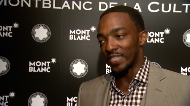 interview anthony mackie on what brings him out tonight on jane rosenthal's award on being in the jury on preparing to vote for other nominees around... - jesse jane stock-videos und b-roll-filmmaterial