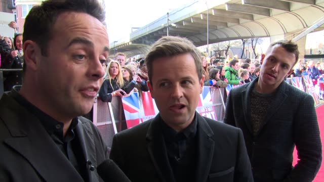 interview anthony mcpartlin and declan donnelly on contestants and the 'new simon cowell' at britain's got talent' arrivals - britain's got talent stock-videos und b-roll-filmmaterial
