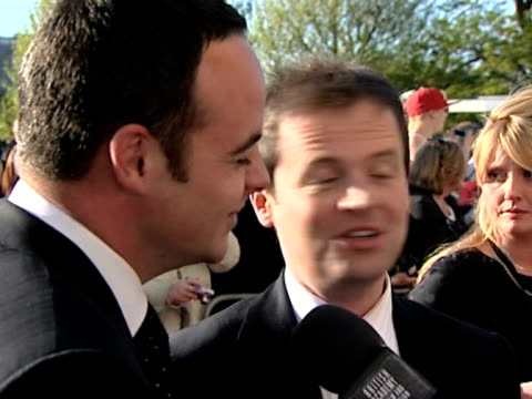 stockvideo's en b-roll-footage met anthony mcpartlin and declan donnelly on watching tv programmes and who their competition is at the tv bafta awards at london - declan donnelly