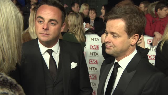 stockvideo's en b-roll-footage met interview anthony mcpartlin declan donnelly on a possible 14th award can david walliams beat simon cowell to best judge award national television... - declan donnelly