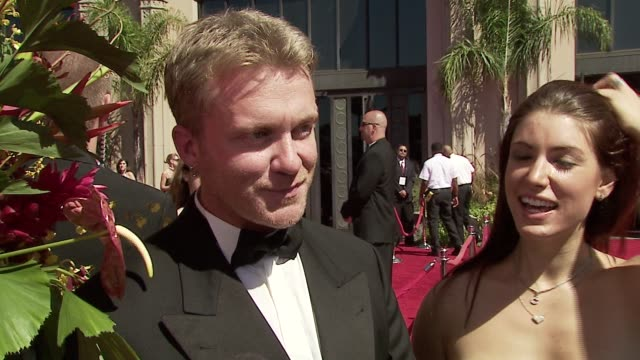 vídeos de stock, filmes e b-roll de anthony michael hall on being at the emmys his work on dead zone and if hes rooting for anyone tonight at the 58th annual emmy awards at shrine... - anthony michael hall