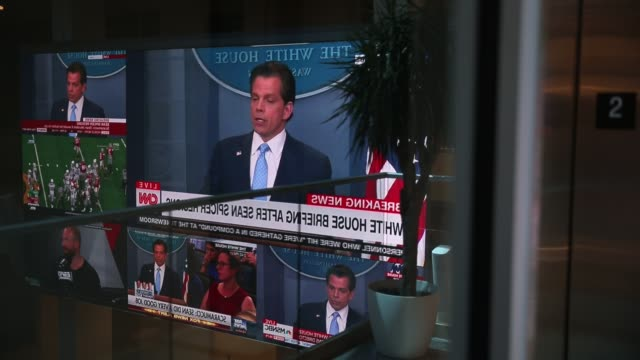 anthony scaramucci is shown on televisions at the indiana university media school speaking during the daily press briefing after united states... - msnbc stock videos & royalty-free footage