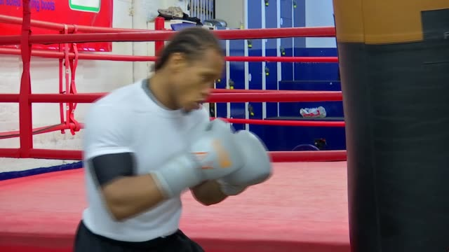 Anthony Yarde interview INT Various shots of Anthony Yarde in gym shadow boxing and sparring with partner