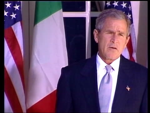 ext president george w bush along with italian prime minister silvio berlusconi pull president george w bush speaking to press sot talks of anthrax... - 2001 stock videos & royalty-free footage
