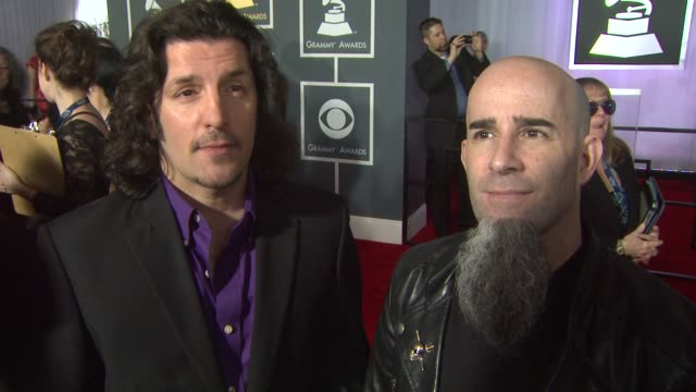 interview anthrax on being nominated and on if they have a speech prepared at the 55th annual grammy awards arrivals interviews in los angeles ca on... - grammy awards stock videos and b-roll footage