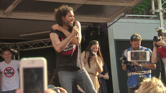 Anti Austerity protest in central London with Speech from comedian and activist Russell Brand on June 21 2014 in London England