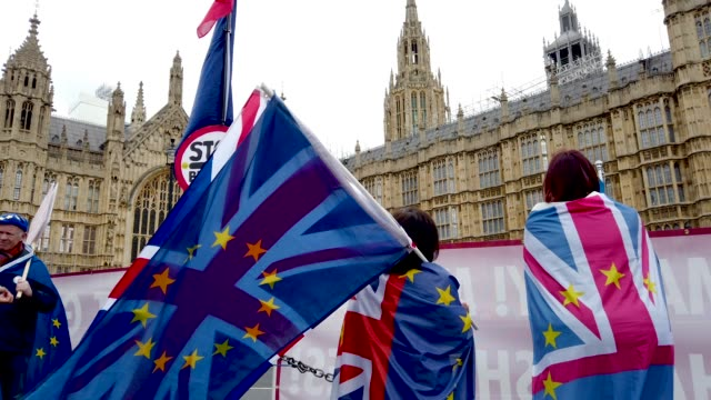 anti brexit supporters campaign outside of the houses of parliament on march 28 2019 in london england none of the eight proposals put to the vote in... - vacations stock videos & royalty-free footage