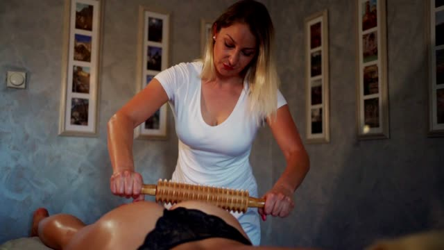 anti cellulite madero therapy - rolling pin stock videos & royalty-free footage