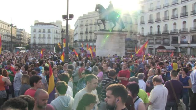 anti monarchists protested in central madrid on monday following the announcement from king juan carlos that he plans to abdicate - abdication stock videos and b-roll footage