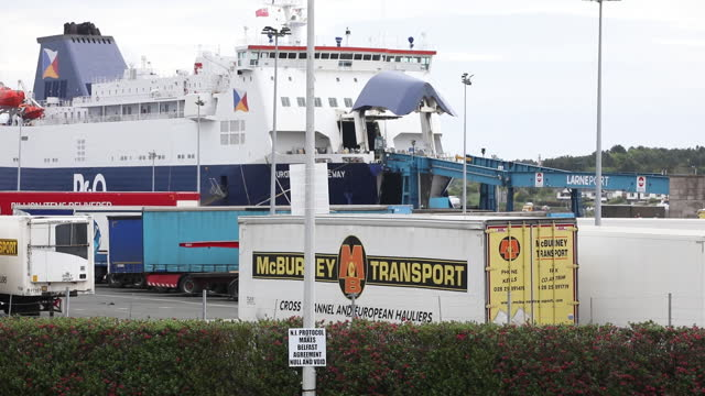 anti northern ireland protocol signs amid eu talks, in larne, northern ireland, u.k. on wednesday, june 9, 2021. - harbour stock videos & royalty-free footage