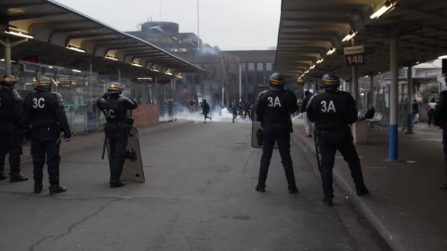 Anti riot police intervene demonstrators during the 'Justice for Theo' protest in Bobigny northern Paris France on February 16 2017 More than a week...