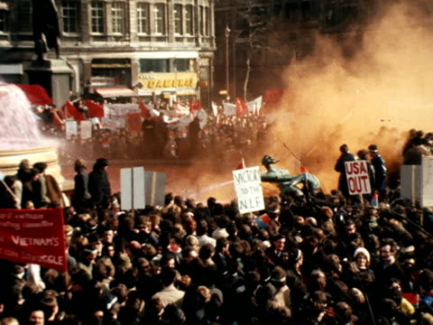 anti vietnam war demonstrators gather at trafalgar square for a rally - stars and stripes stock videos & royalty-free footage