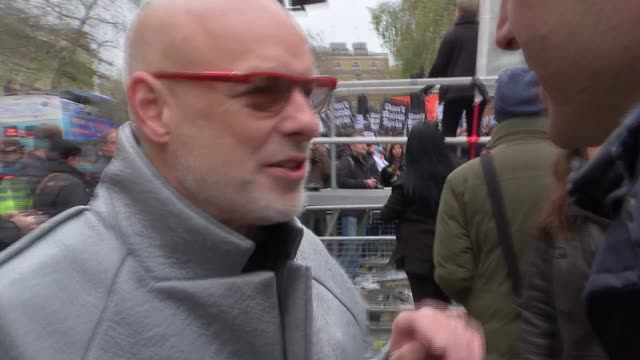 Anti war speeches at Whitehall Brian Eno speech SOT / Brian Eno interview SOT / Owen Jones arguing with man about Assad / Protesters chanting SOT /...
