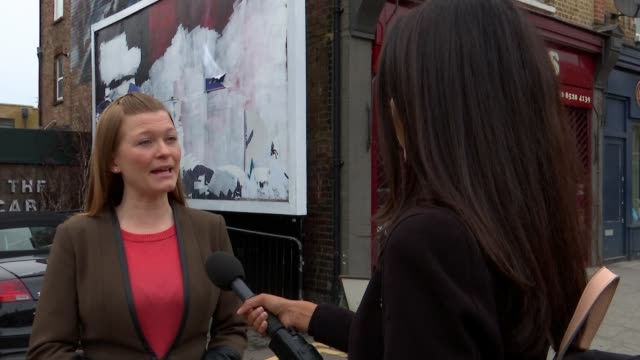 antiabortion posters targeting stella creasy appear in walthamstow england london wood street ext paintedover billboard ruth rawlins meeting reporter... - poster stock videos & royalty-free footage