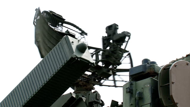 anti-aircraft defense system in combat position - rocket launcher stock videos & royalty-free footage