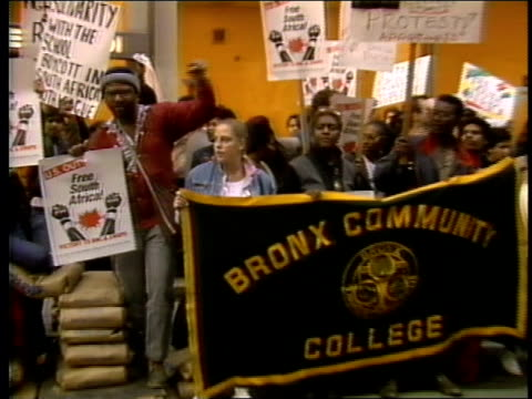 antiapartheid rally in nyc by bronx community college students - 1985 stock videos & royalty-free footage