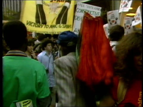 antiapartheid rally in nyc - 1985年点の映像素材/bロール