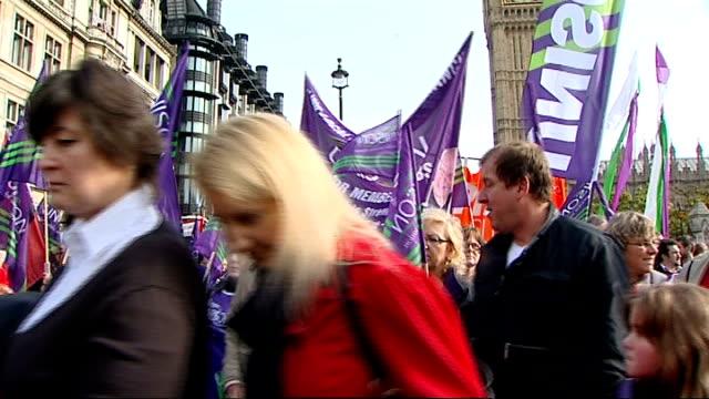 anti-austerity march: general views; more of march - 労働組合会議点の映像素材/bロール
