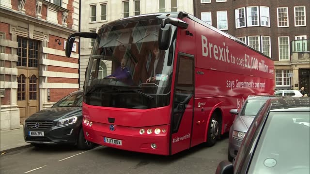 London Westminster EXT AntiBrexit bus carrying the slogan 'Brexit to cost two thousand millions pounds a week says the government Is it worth it'...