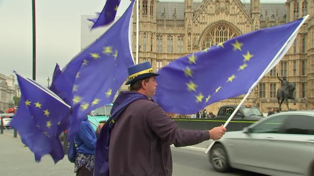 anti-brexit protest in westminster; england: london: westminster: ext gvs anti-brexit protesters with eu flags - rebellion stock videos & royalty-free footage