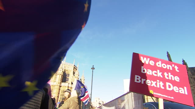 AntiBrexit protesters demonstrating outside the Houses of Parliament