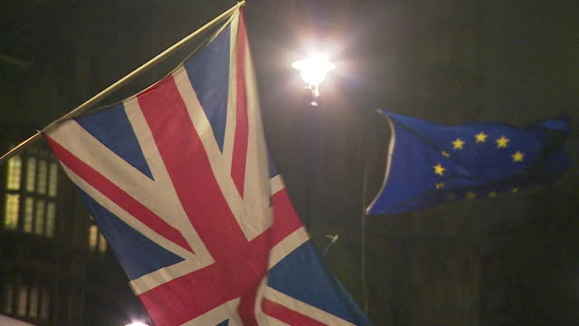 vídeos de stock, filmes e b-roll de antibrexit protesters in westminster at night - formato bruto