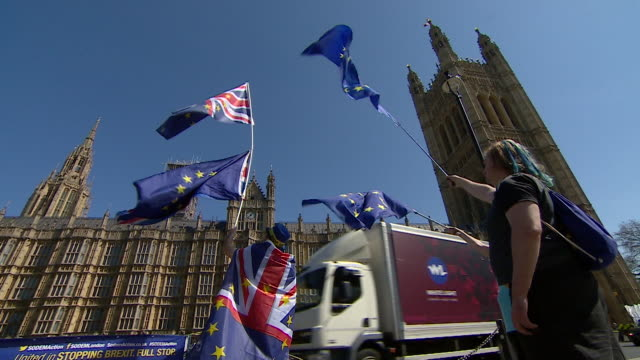 AntiBrexit protestors outside the Houses of Parliament