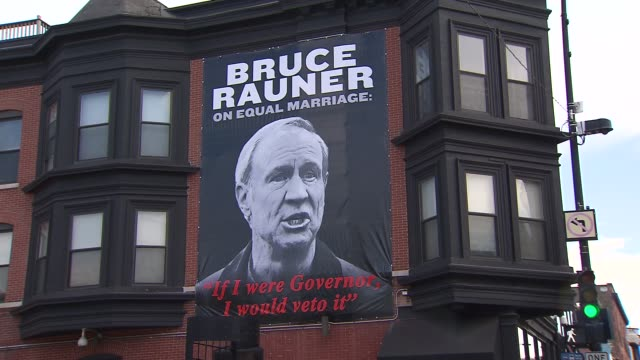 antibruce rauner signs were plastered around chicago's boystown as the gayfriendly neighborhood prepared for the 45th annual pride parade on june 30... - bruce stock videos & royalty-free footage