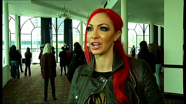 anti-bullying week launched at canary wharf; jodie marsh interview sot - was bullied at school and know how bad problem is / at worst of bullying... - jodie marsh stock videos & royalty-free footage