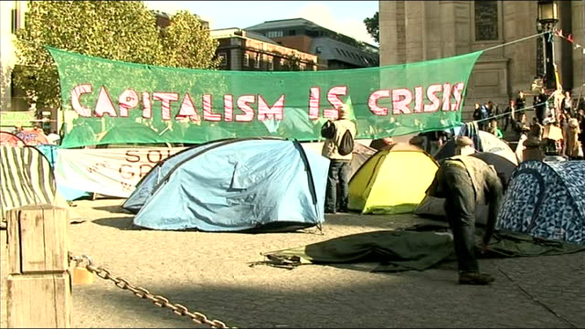 anticapitalist protest closes st paul's cathedral england london int reverend graeme knowles press conference sot we have no alternative but to close... - brigade stock videos & royalty-free footage