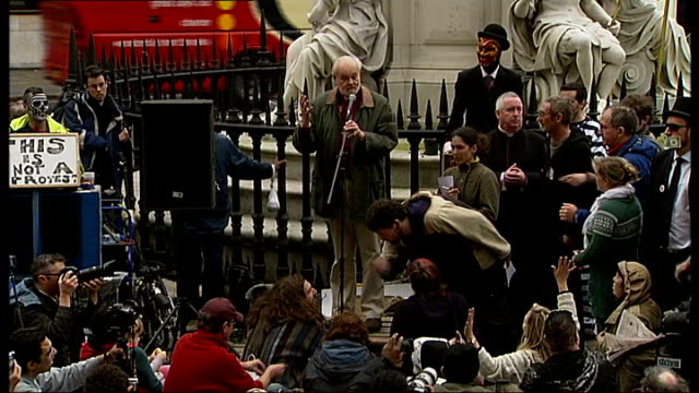 anticapitalist protest outside st paul's cathedral 'sermon on the steps' england london st paul's cathedral ext unidentified speaker sot / right... - bishop of london stock videos & royalty-free footage
