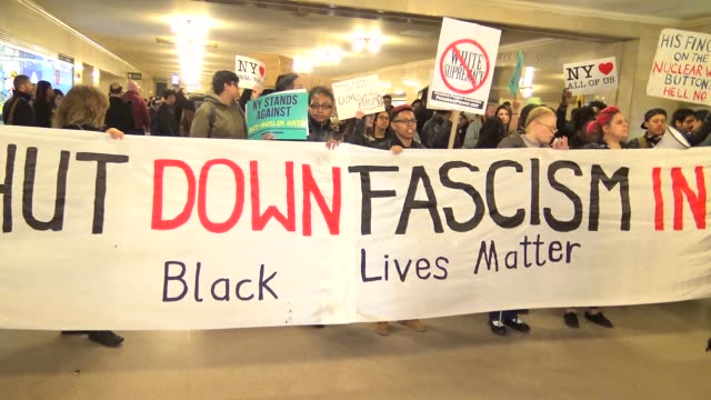AntiDonald Trump protest outside of the Grand Hyatt Hotel and Grand Central Station / Protesters enter Grand Central Station to protest / 42nd Street...