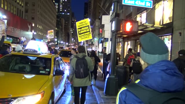 anti-donald trump protest outside of the grand hyatt hotel and grand central station / the black lives matter and occupy wall street activists... - occupy protests stock videos & royalty-free footage