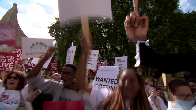 antieuthanasia demonstrators outside the houses of parliament - euthanasia stock videos & royalty-free footage