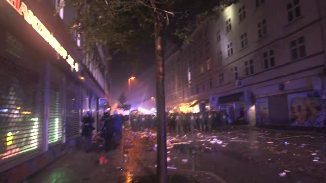 antifascist and anticapitalist black bloc g20 protesters build a roadblock out of debris in the altona nord neighborhood of the german city of... - anti fascism stock videos & royalty-free footage