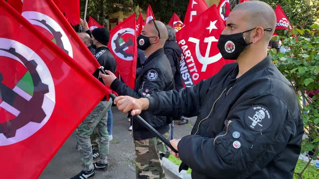 anti-fascists of socialist homeland on the monument to the partisans in the verano cemetery during the parade in remembrance of the struggle for... - partisan politics stock videos & royalty-free footage