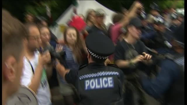anti-fracking protester gets carried away by police officers - protesta anti fracking video stock e b–roll