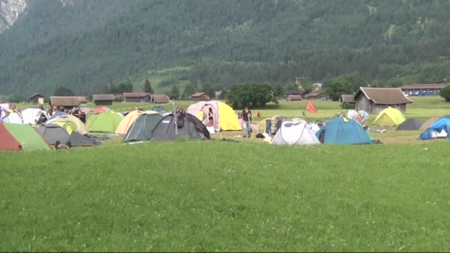 antig7 protesters prepare to leave the protesters' camp near garmischpartenkirchen the venue of the summit of g7 nation leaders on the second day of... - garmisch partenkirchen stock videos and b-roll footage