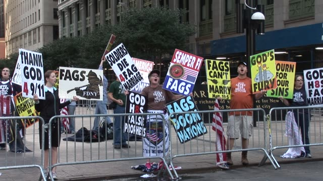 anti-gay demonstrators gather near ground zero / on broadway near liberty st / one block from ground zero new york city commemorates 10th anniversary... - omofobia video stock e b–roll