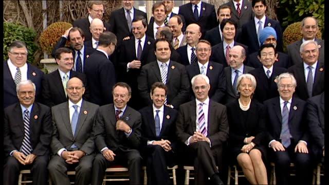 antiglobalisation protesters prepare ahead of g20 summit in london lib washington the white house george w bush to podium on platform with the... - g7サミット点の映像素材/bロール
