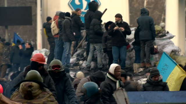 AntiGovernment demonstrators camped out in Kiev's Independence Square in protest against ProRussian Government